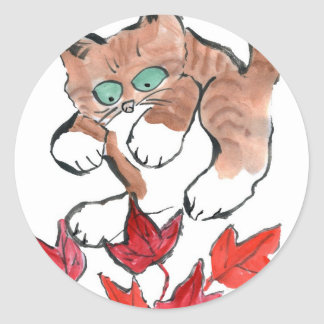 Tiger Kitten is about to Pounce on 5 Maple Leaves Classic Round Sticker