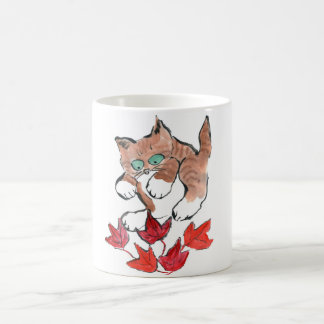 Tiger Kitten is about to Pounce on 5 Maple Leaves Coffee Mug