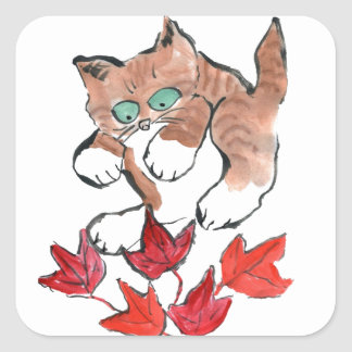 Tiger Kitten is about to Pounce on 5 Maple Leaves Square Sticker