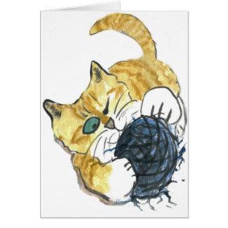 Tiger Kitten's One Eyed Yarn Attack Greeting Card