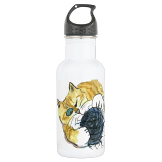 Tiger Kitten's One Eyed Yarn Attack Water Bottle