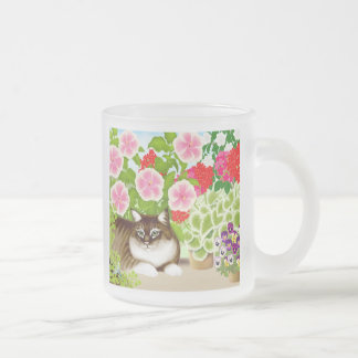 Tiger Kitty in the Patio Jungle Frosted Glass Mug