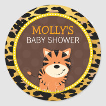 Tiger Leopard Print Jungle Baby Shower Favor Stick Classic Round Sticker