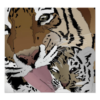 Tiger Licking Her Young Cub - Binary Trading Art Poster