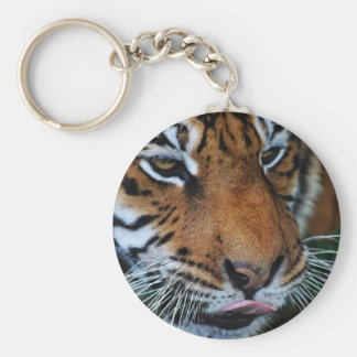 Tiger licking his lips keychain