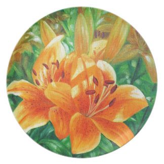 Tiger lilies dinner plate