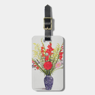 Tiger Lilies Gladioli and Scabious in a Blue Bag Tag