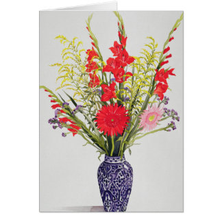 Tiger Lilies Gladioli and Scabious in a Blue Card