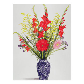 Tiger Lilies Gladioli and Scabious in a Blue Postcard