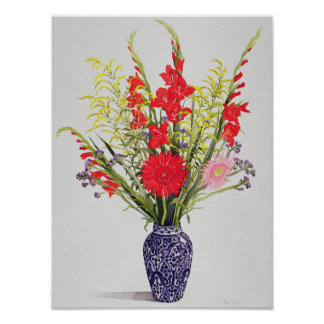 Tiger Lilies Gladioli and Scabious in a Blue Poster