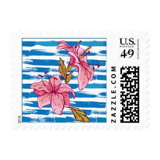 Tiger lilies on blue and white striped background postage
