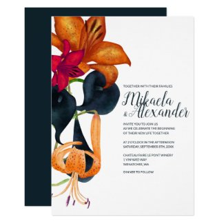 Tiger Lilies Wedding Invitation
