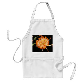 Tiger Lilly on Black Background Adult Apron