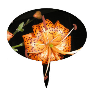 Tiger Lilly on Black Background Cake Topper