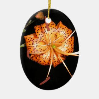 Tiger Lilly on Black Background Ceramic Ornament