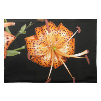 Tiger Lilly on Black Background Cloth Placemat