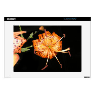 "Tiger Lilly on Black Background Decals For 15"" Laptops"