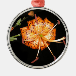 Tiger Lilly on Black Background Metal Ornament