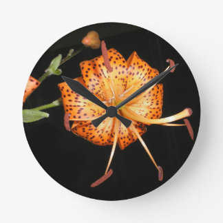 Tiger Lilly on Black Background Round Clock