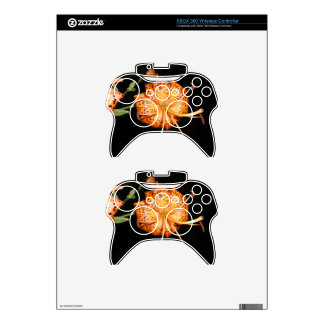 Tiger Lilly on Black Background Xbox 360 Controller Skins