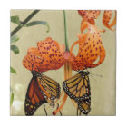 Tiger Lily and Monarchs Ceramic Tile