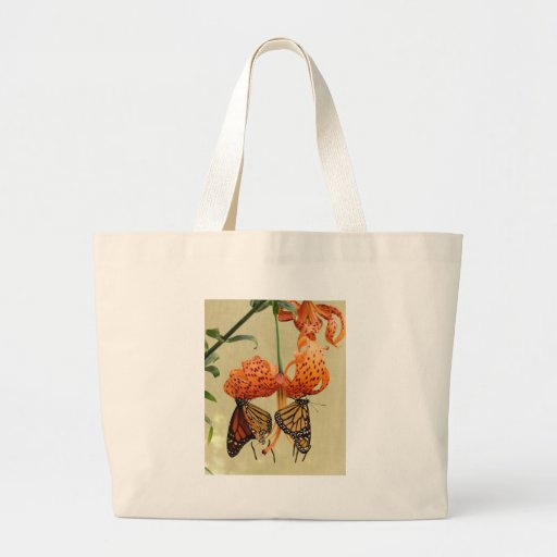 Tiger Lily and Monarchs Tote Bag