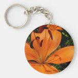 Tiger Lily Basic Round Button Keychain