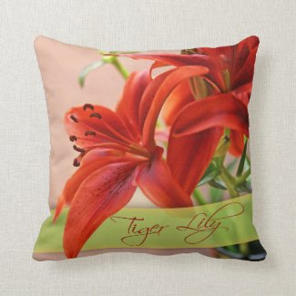 Tiger Lily Close-Up Photograph and Typography Throw Pillow
