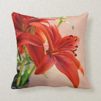 Tiger Lily Close Up Photograph Throw Pillow