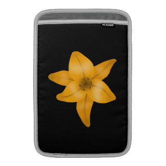 Tiger Lily Flower on Black Sleeve For MacBook Air