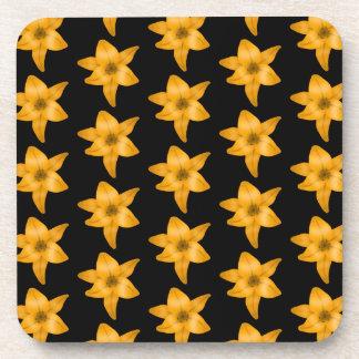 Tiger Lily Flower Pattern on Black. Drink Coaster