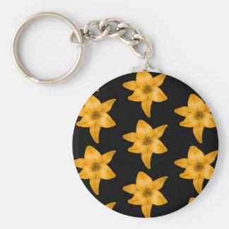 Tiger Lily Flower Pattern on Black. Key Chain