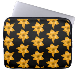 Tiger Lily Flower Pattern on Black Computer Sleeve