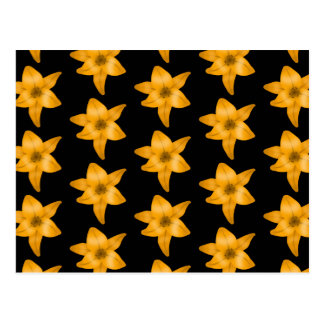 Tiger Lily Flower Pattern on Black. Postcard