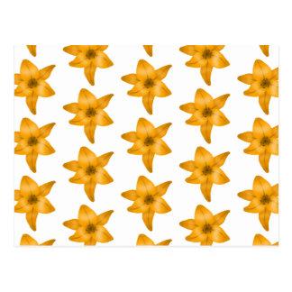 Tiger Lily Flowers. Pattern. Postcard