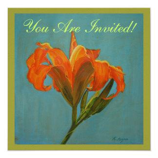 """Tiger Lily Invite 5.25"""" Square Invitation Card"""