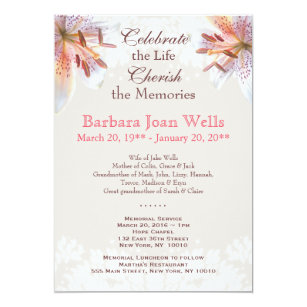 Memorial service invitations zazzle tiger lily memorial service funeral announcement stopboris Image collections