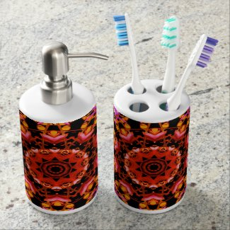 Tiger Lily Pattern Art - Soap Dispenser/Tooth Brus