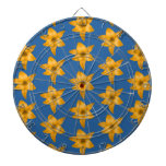 Tiger Lily Pattern on Blue. Dartboard With Darts