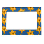 Tiger Lily Pattern on Blue. Magnetic Photo Frame