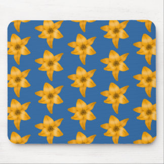 Tiger Lily Pattern on Blue. Mouse Pad