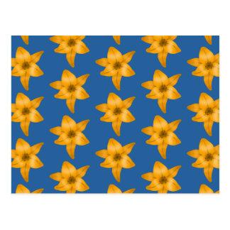 Tiger Lily Pattern on Blue. Postcard