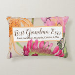 """Tiger Lily & Protea Mother's Day Throw Pillow<br><div class=""""desc"""">Rectangular floral throw pillow with Best Grandma Ever message. Personalize the text with your own names or change the message for another occasion! Protea flowers and tiger lily behind a customizable message. Magenta pink,  light pink,  and orange flowers on a light beige background.</div>"""