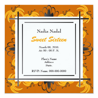Tiger Lily Sweet Sixteen Invitation-Customize 5.25x5.25 Square Paper Invitation Card
