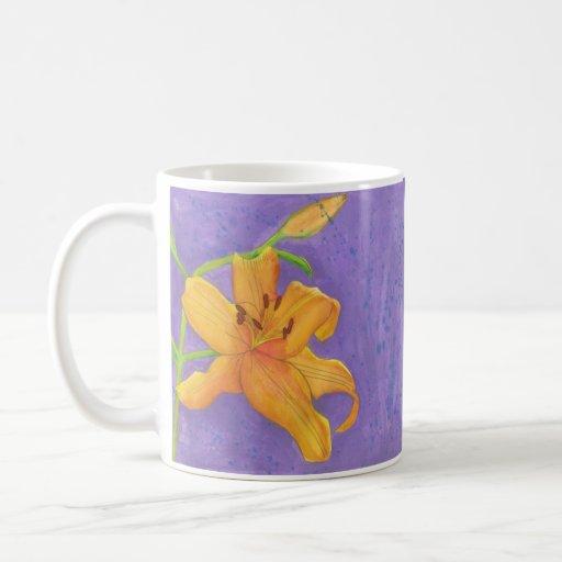 tiger lily water color coffee mug