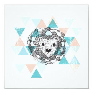 Tiger lion geometric illustration postcard