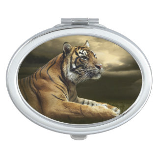 Tiger looking and sitting under dramatic sky compact mirror