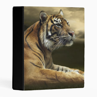 Tiger looking and sitting under dramatic sky mini binder