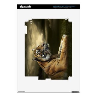 Tiger looking and sitting under dramatic sky iPad 3 decals