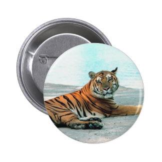 Tiger Lounge 2 Inch Round Button